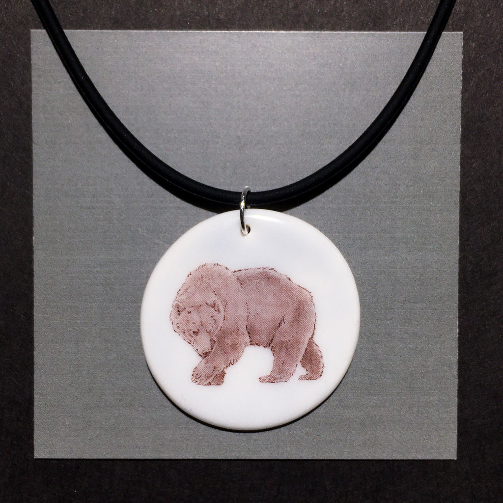 Porcelain Grizzly Bear Necklace - [STN021]