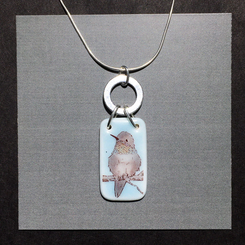 Porcelain Hummingbird Necklace (iridescent) - [STN030]