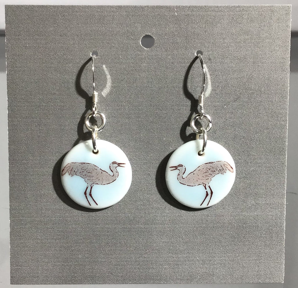 Porcelain Crane Earrings - [ST013]
