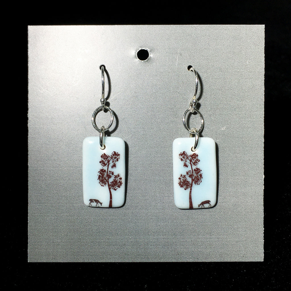 Porcelain Tree and Deer Earrings - [ST033]