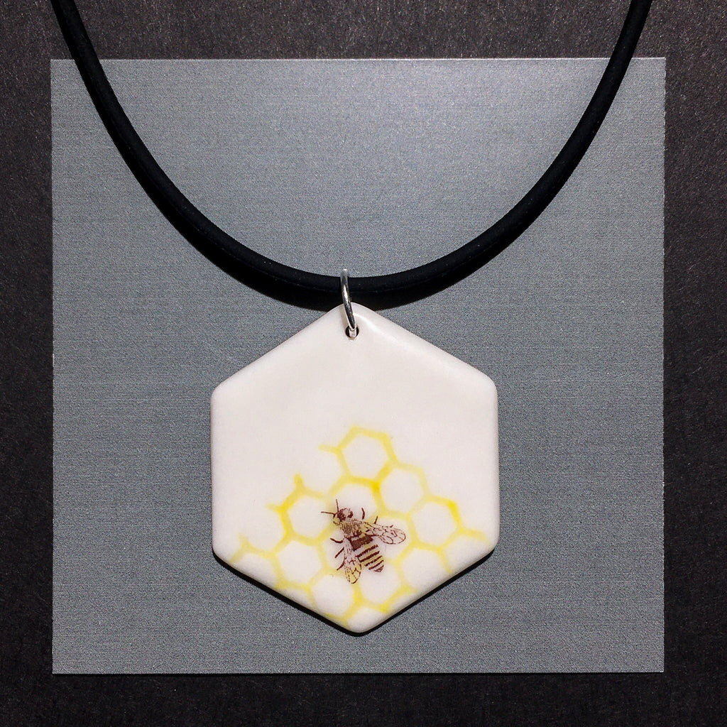 Porcelain Honey Bee Necklace - [STN022]