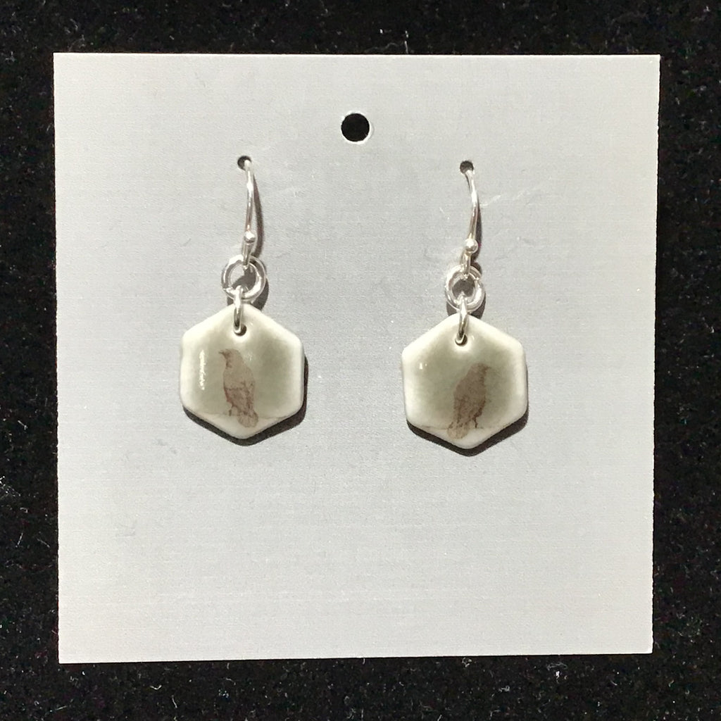 Porcelain Raven Earrings - [#ST7010]