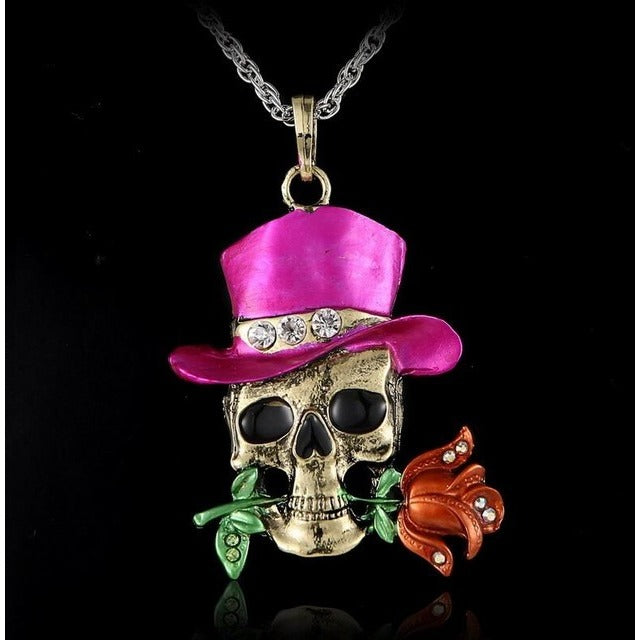 Crystal skull flower necklace sunny and smile crystal skull flower necklace mozeypictures Images