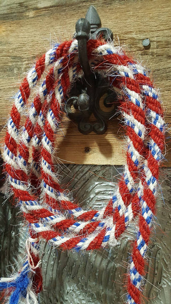 5/8' x 9' Mane Hair Loop Rein in red, white, and blue