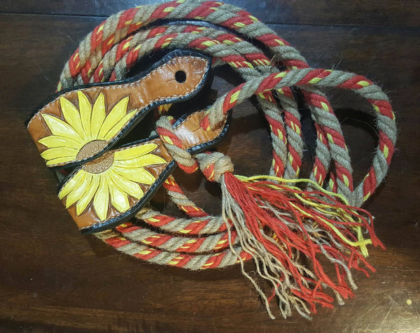 Set of hemp loop reins, and painted slobber straps