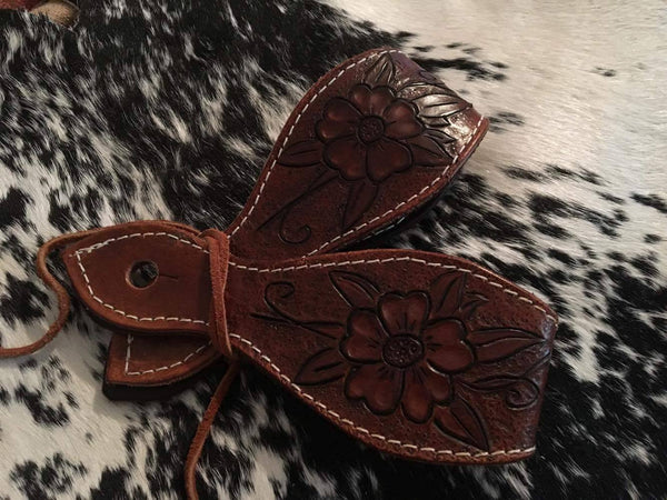 "Dark Leather 8"" Flower Slobber Straps"