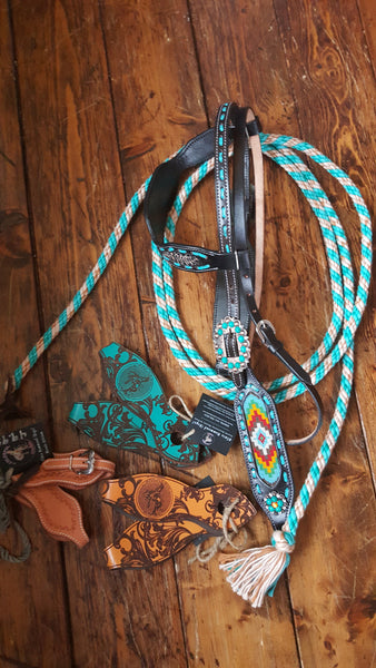 Beads and Turquoise Browband Headstall