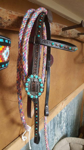 Turquoise and Roses Browband Headstall