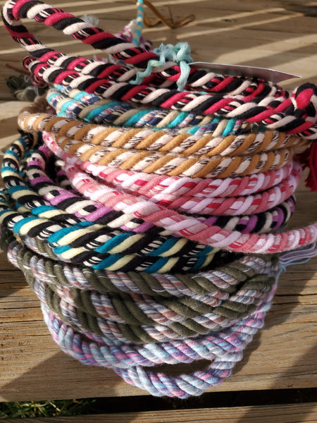 Set of cotton loop reins, and slobber straps