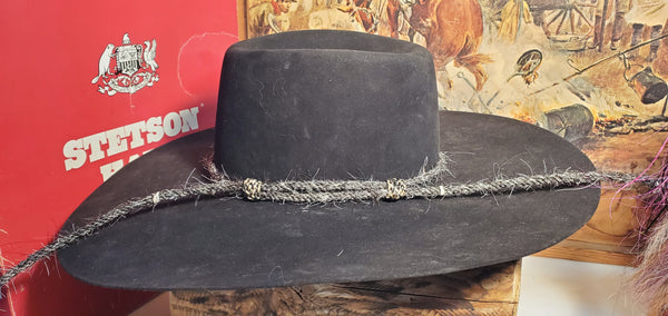 Mecate hatbands with horse hair buttons