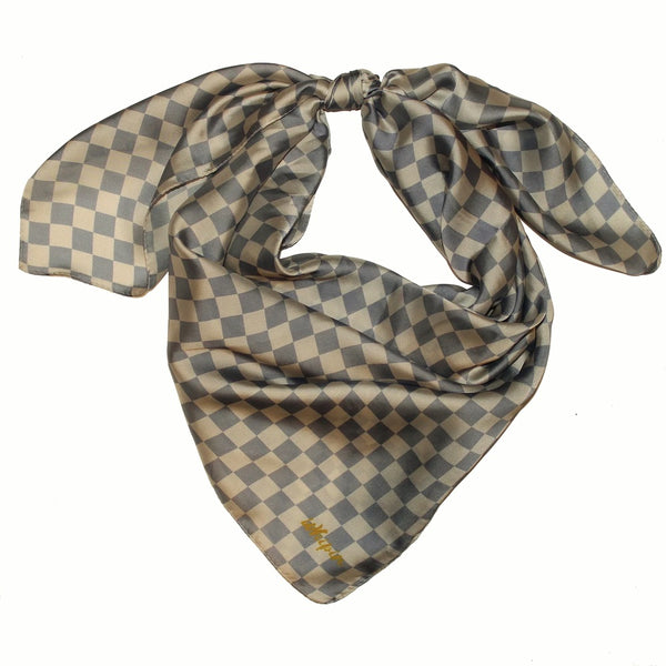Cream Azur Checkers Wild Rag