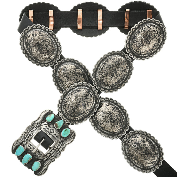 Ol' Santa Fe hammered concho belt with Nevada Turquoise buckle