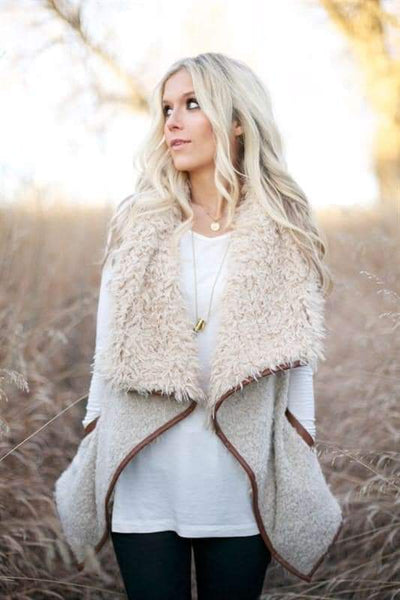Shearling Faux Fur Vest in Vanilla