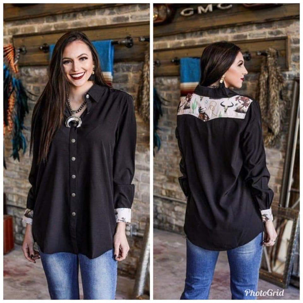Vintage Bronc Black long sleeve Western Shirt