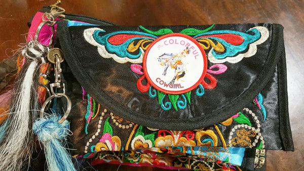 Gypsy Boho embroidered wristlet wallet bag small