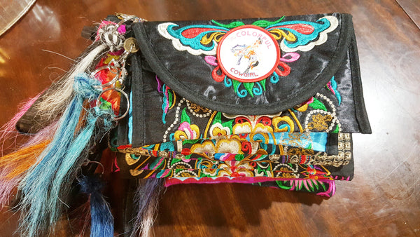 Gypsy Boho embroidered wristlet bag medium