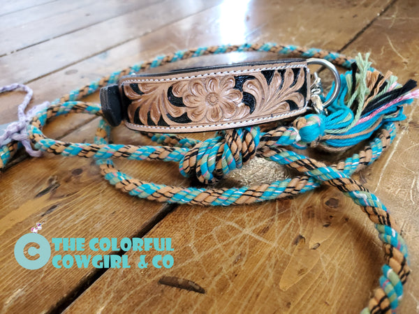Dog collar and mecate leash set