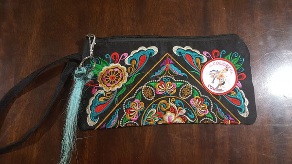 Gypsy Boho embroidered wristlet bag