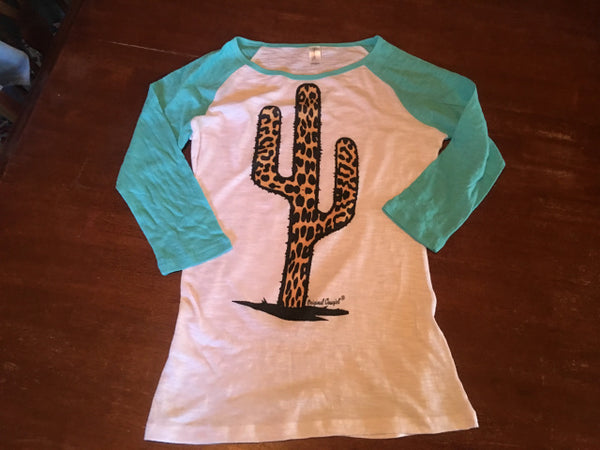 Leopard Cactus Youth Baseball Tee Turquoise