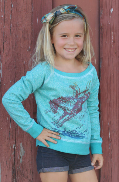 Vintage Bronc Ombre Girls Youth Sweatshirt