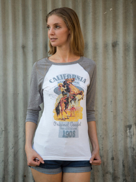 Retro Cowgirl Three Quarter Sleeve Tee