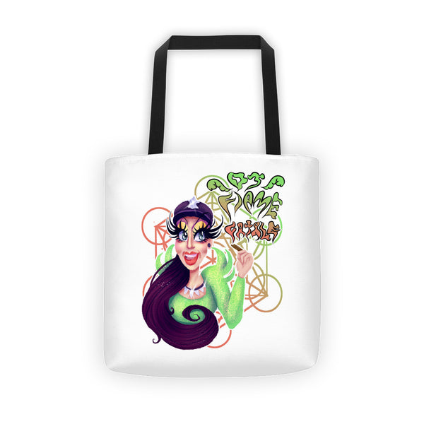 DJ Flame Fatale: Green Flame Tote bag