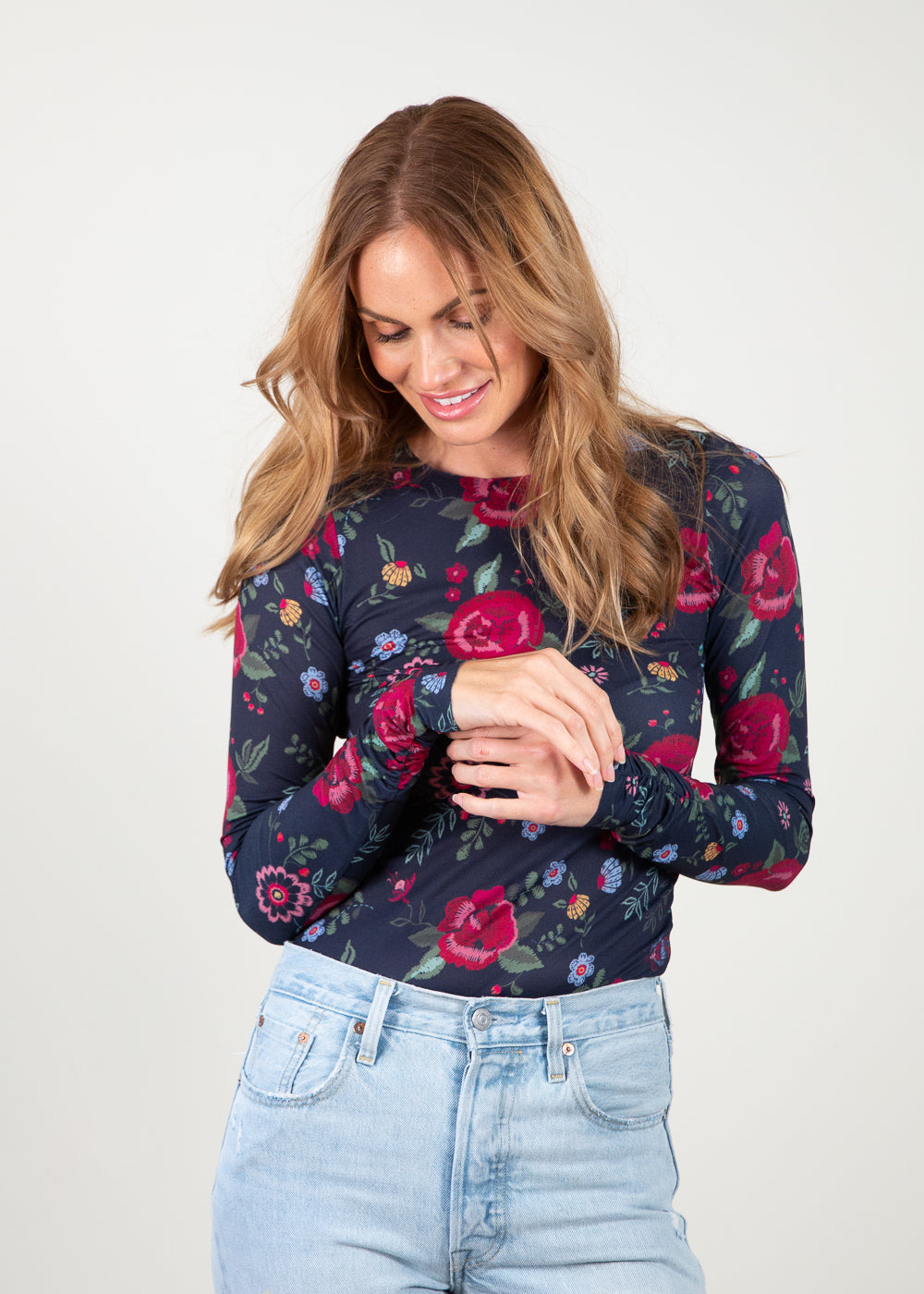Floral Embroidery - Barcelona Crew Neck Top