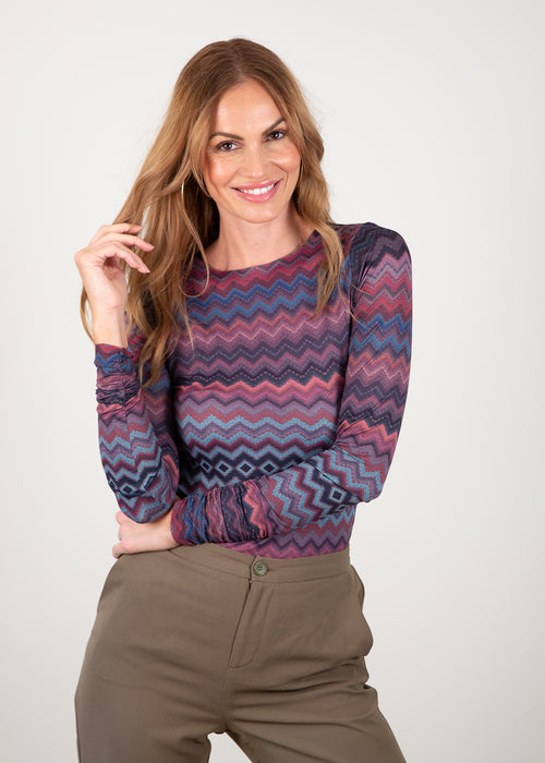 Earthy Baby Zigzag - Barcelona Crew Neck Top
