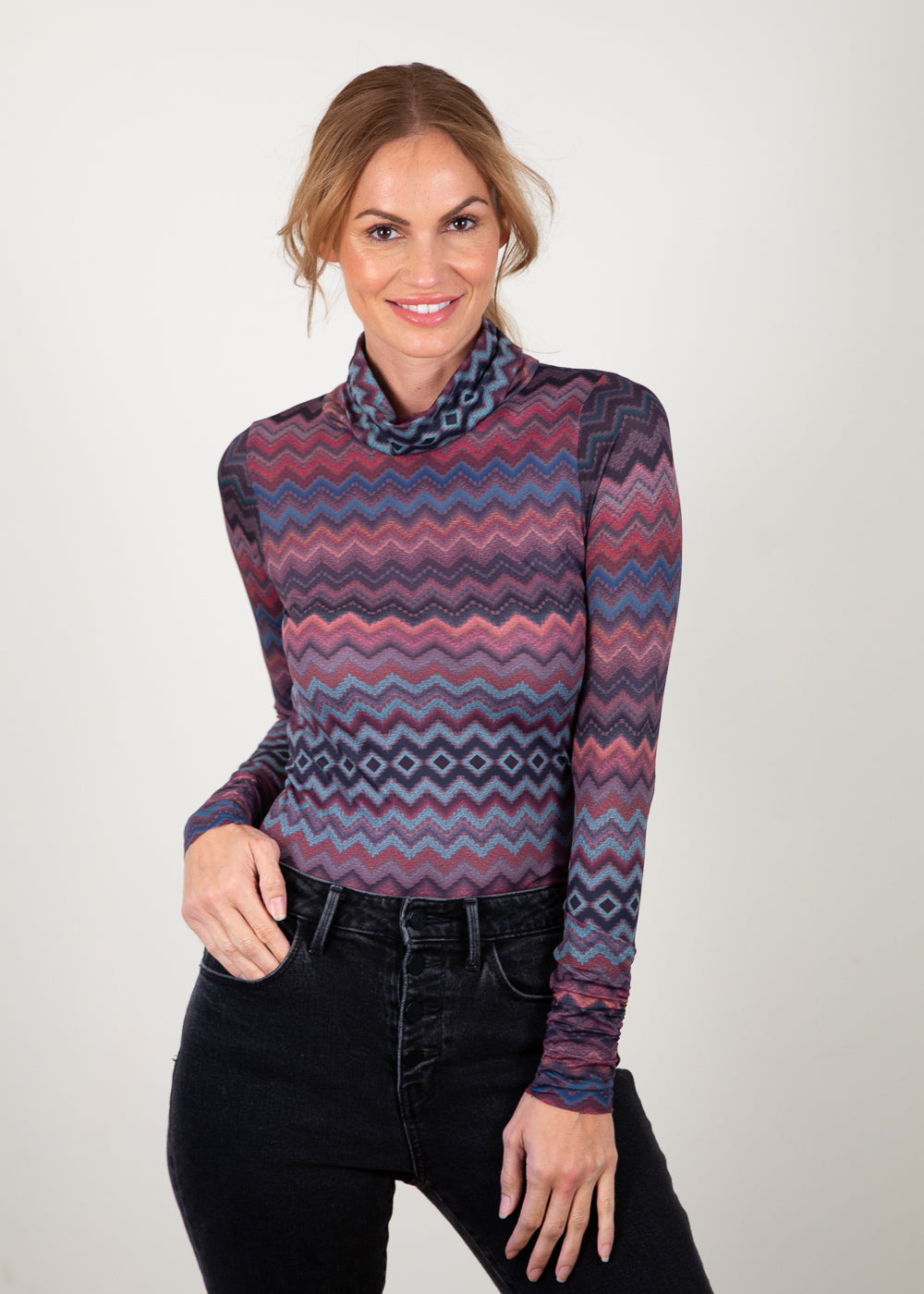 Earthy Baby Zigzag - Barcelona Turtleneck Top