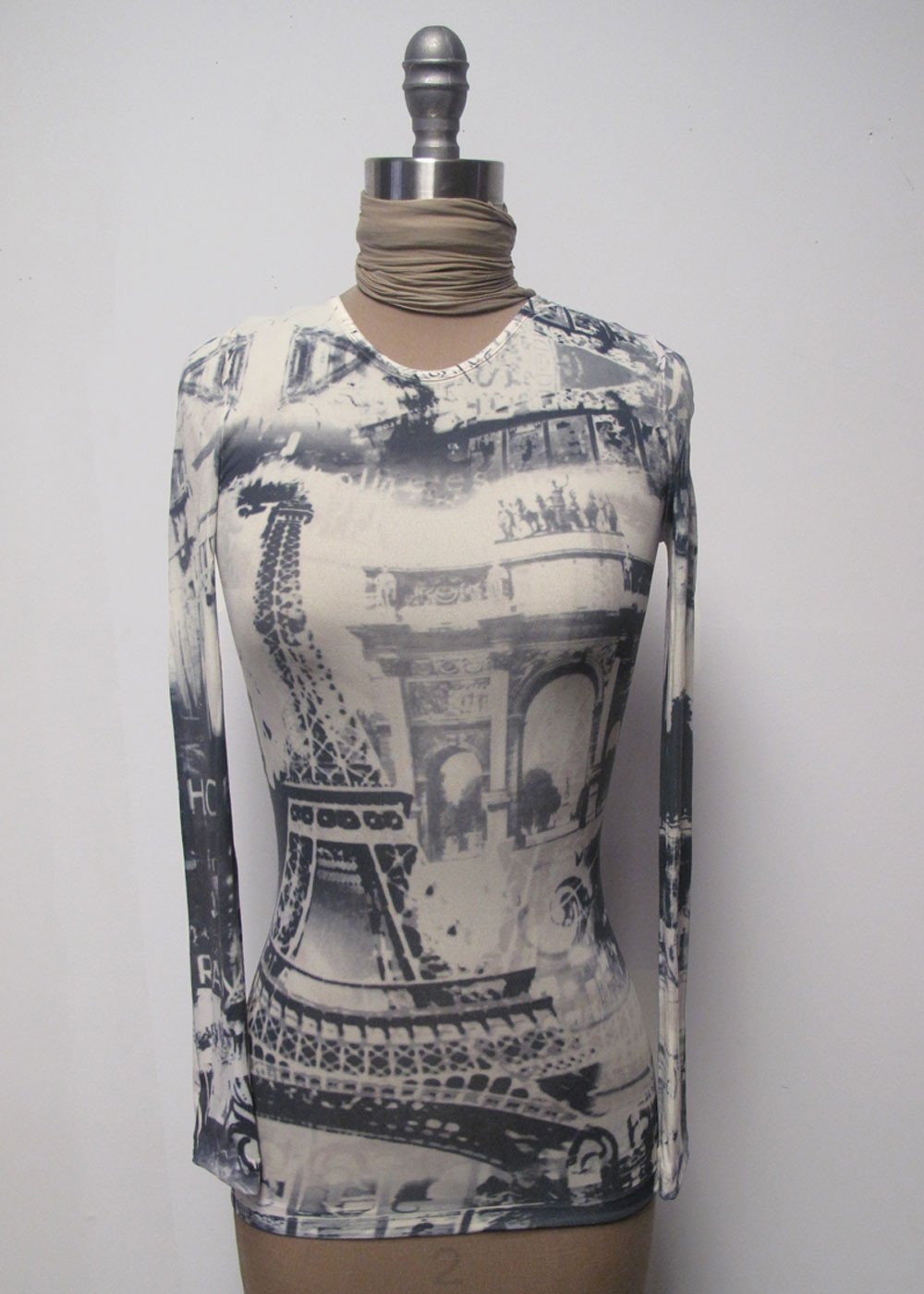 Eiffel Tower Second Skin Crew Neck Top