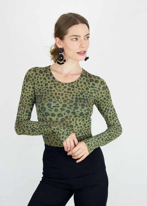 Baby Leopard Second Skin  Crew Neck Top