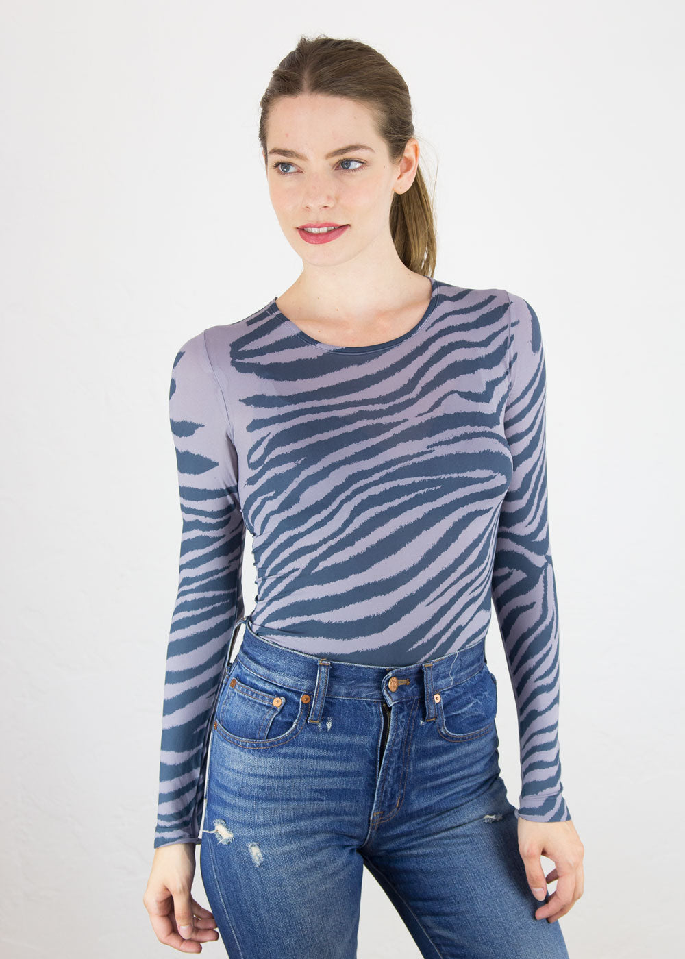 Zebra Skin Crew Neck Top