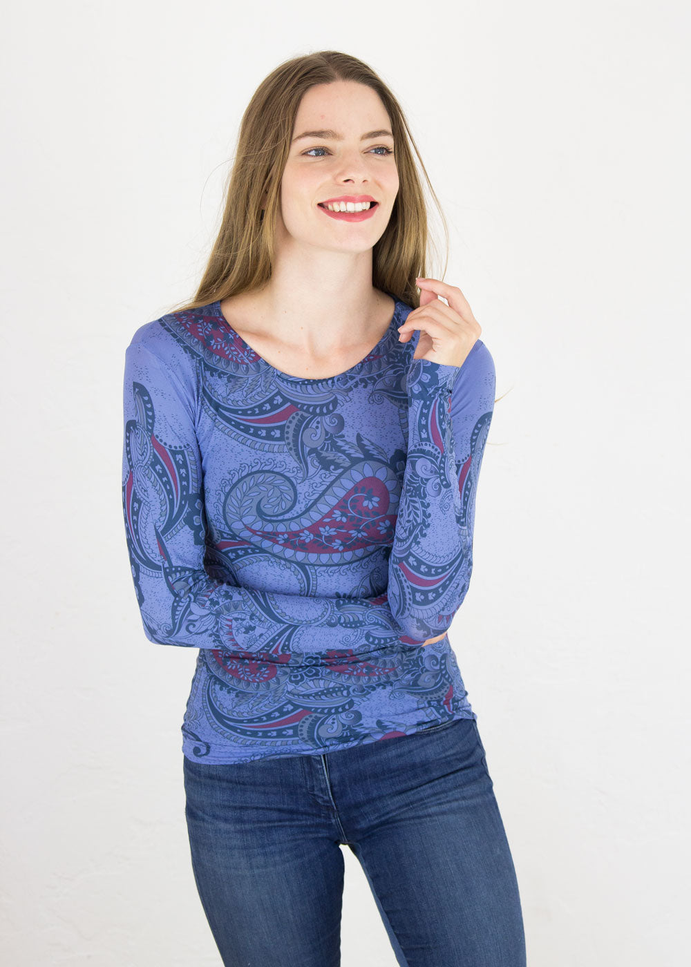 Bandana Paisley Crew Neck Top