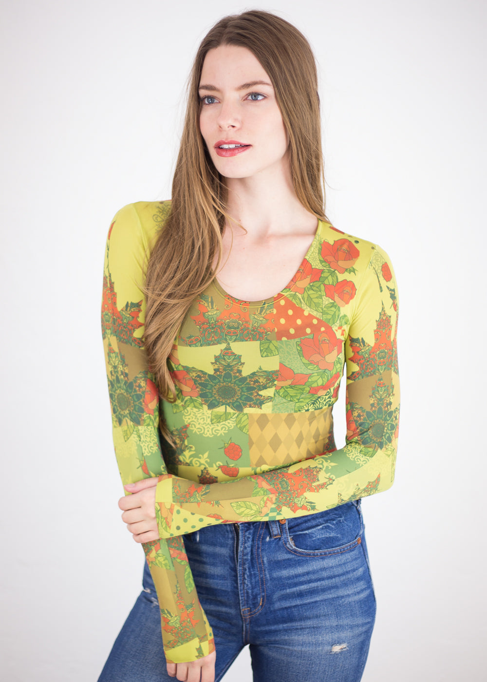 Spanish Quilt Crew Neck Top