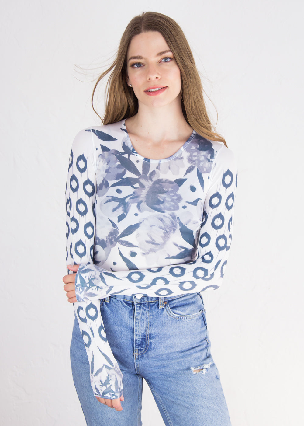 Boho Peony Second Skin Crew Neck Top