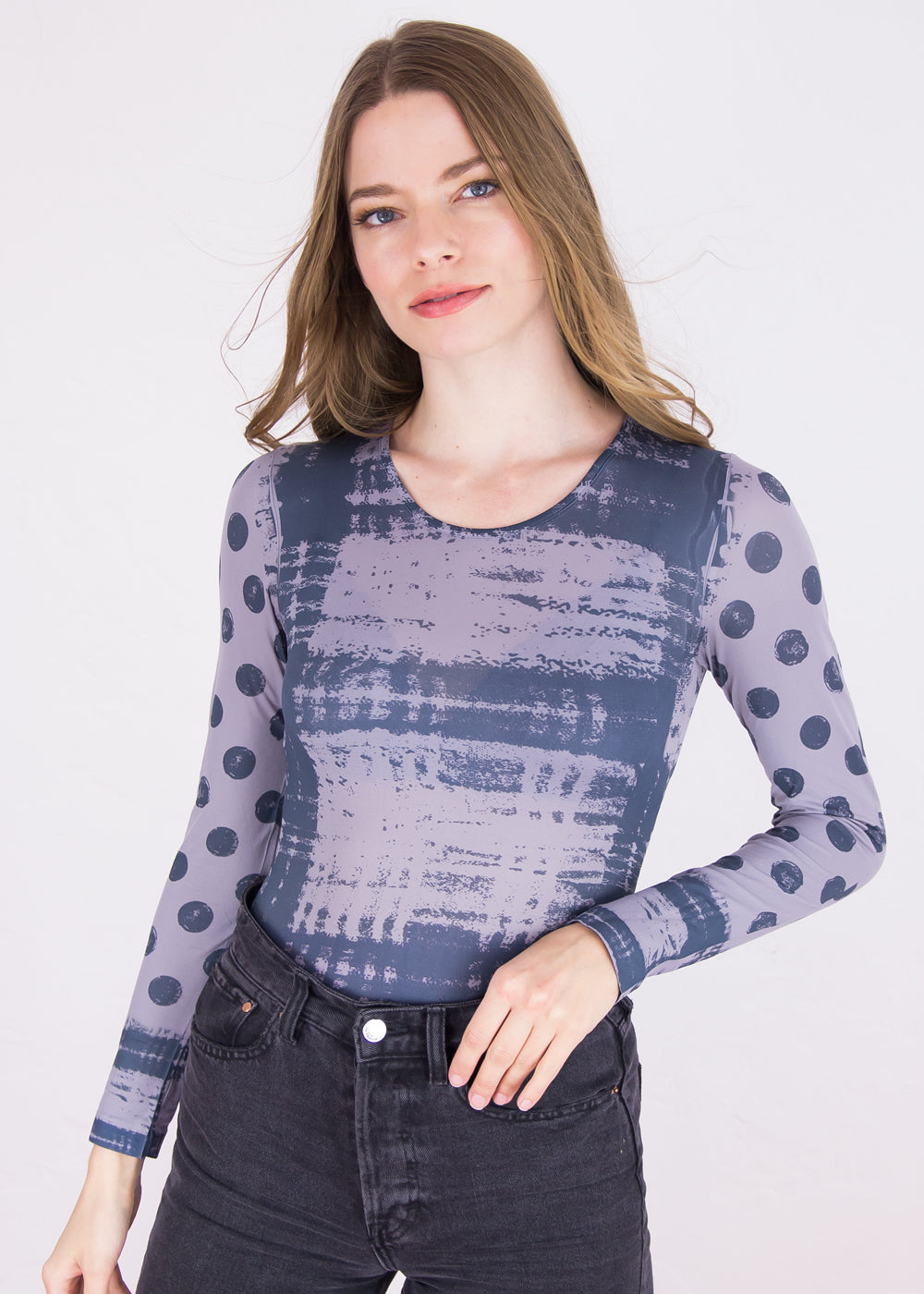 Grunge Collage Crew Neck Top - New Color!