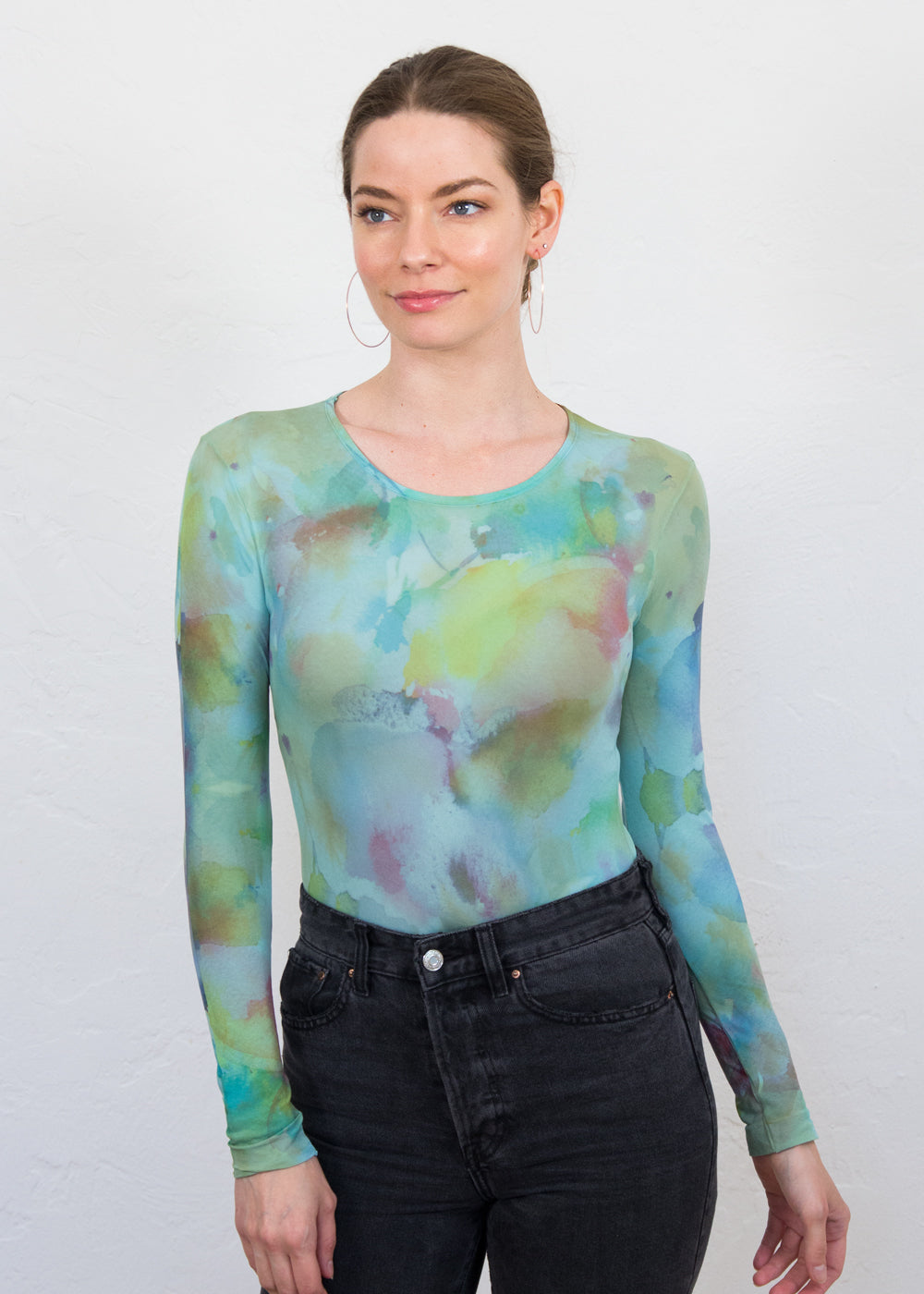 Tea Stained Blossom Crew Neck Top