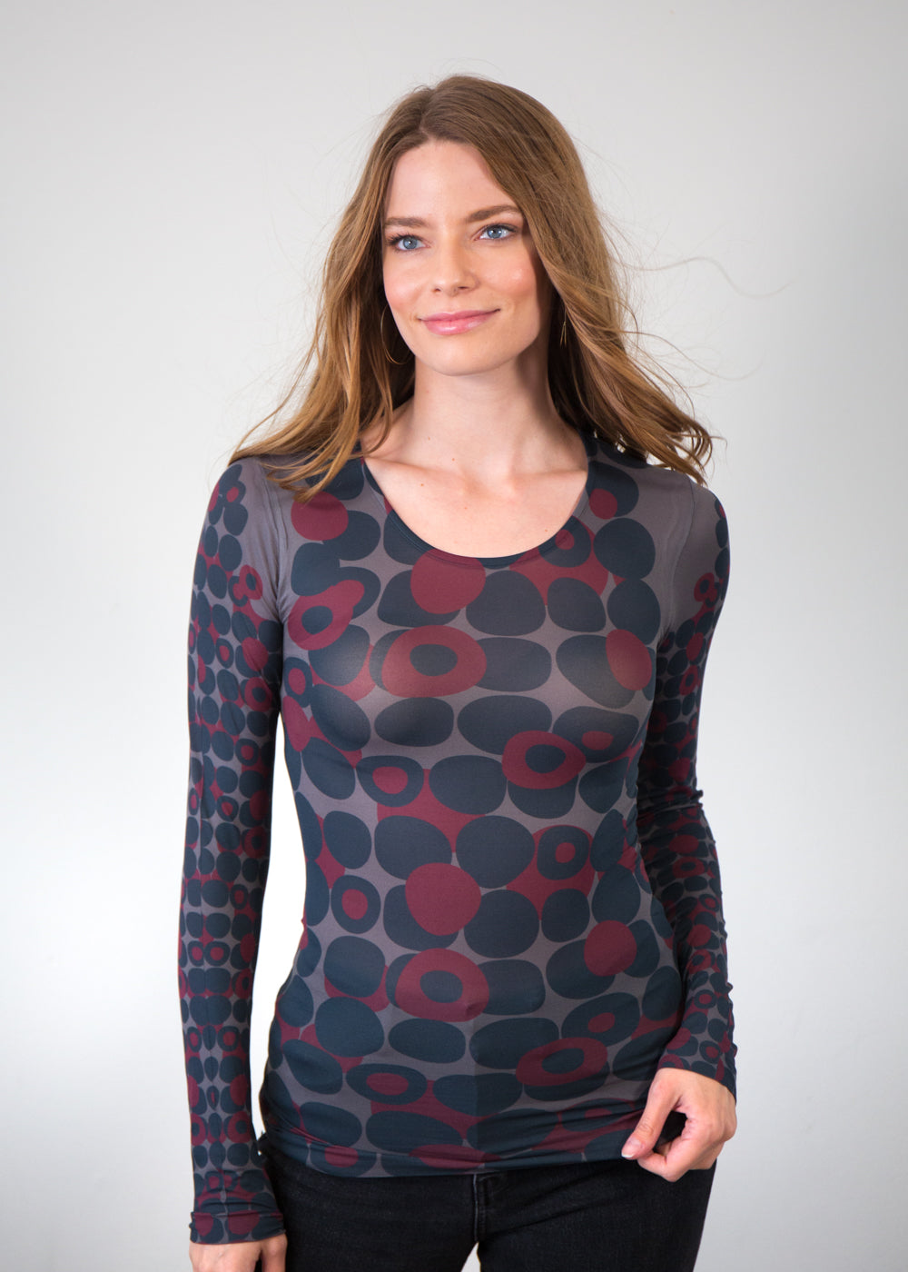 Mod Dots Red Second Skin Crew Neck Top