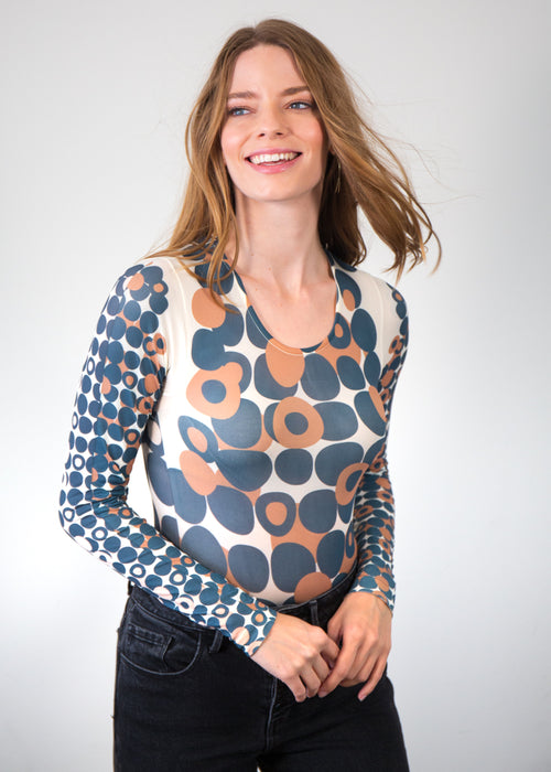 Mod Dots Nude Second Skin Crew Neck Top