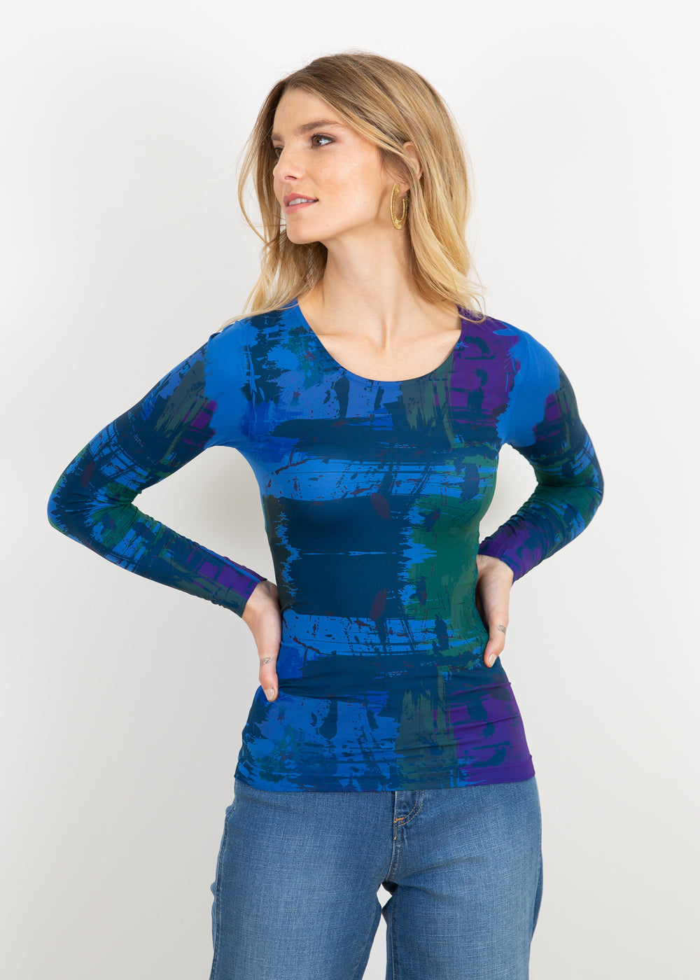 Brush Strokes Second Skin  Crew Neck Top