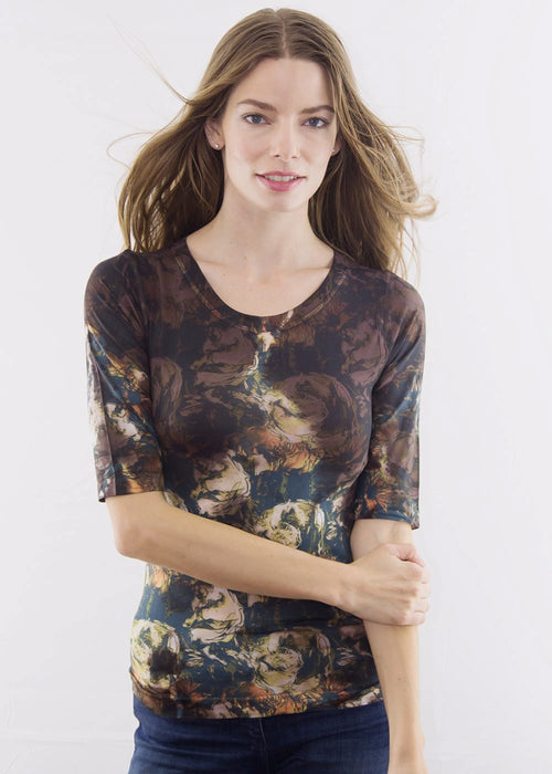 Forest Silky Elbow Sleeve Top