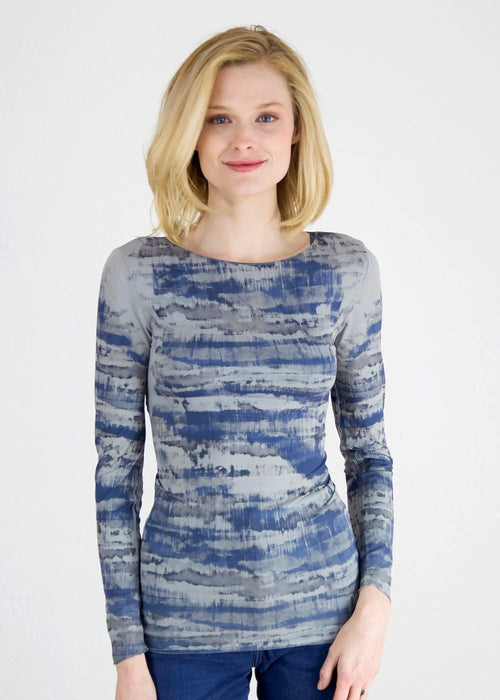 Abstract Camo in Blue Second Skin Raw Edge Top