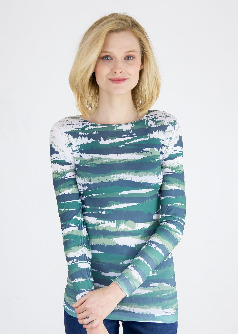 Abstract Camo in Green Second Skin Raw Edge Top
