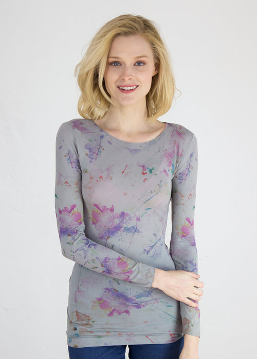Watercolor Bloom Raw Edge Top