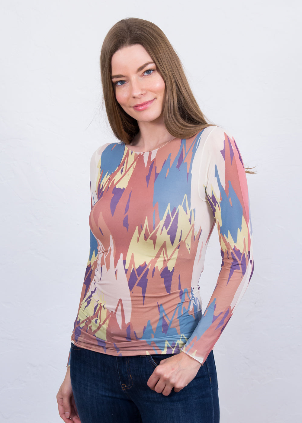 Zigzag Art Raw Edge Top