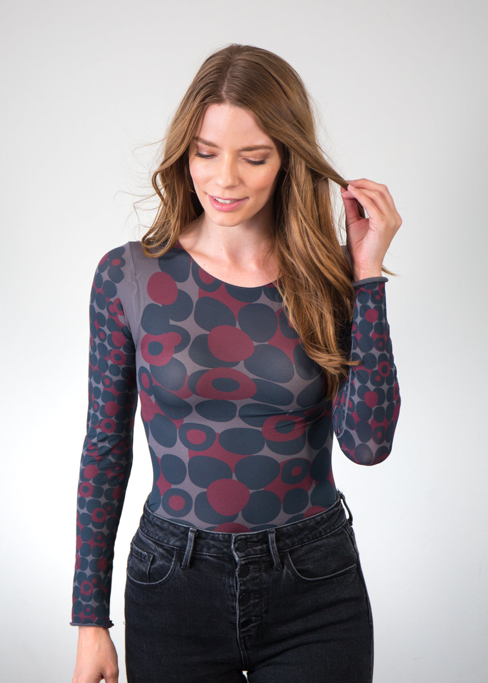 Mod Dots Red Raw Edge Top