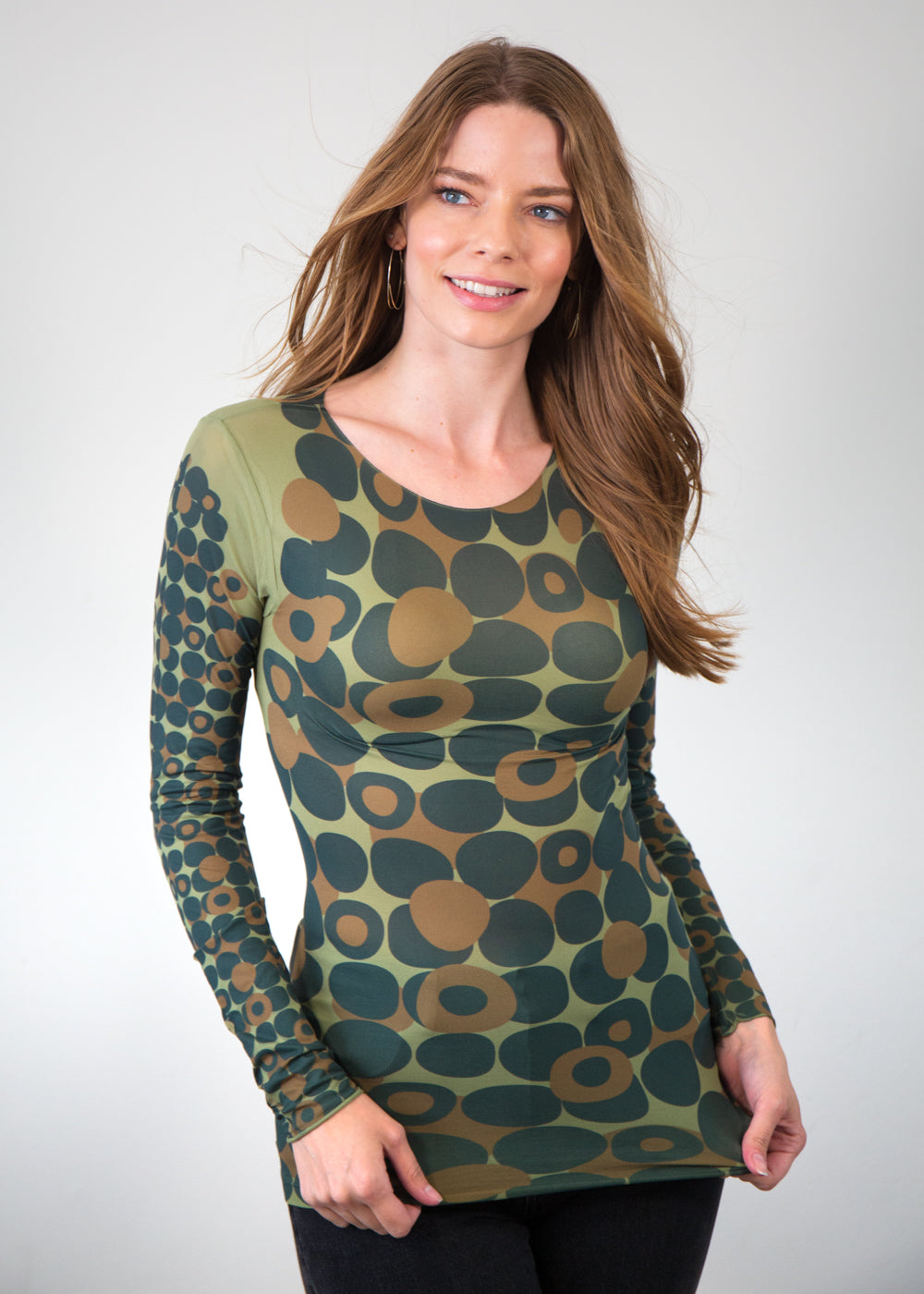 Mod Dots Nude Raw Edge Top