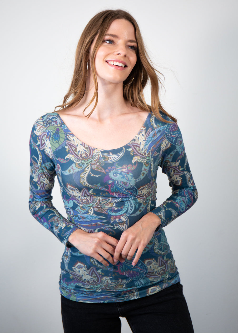 Nature Paisley Ballet Neck Top