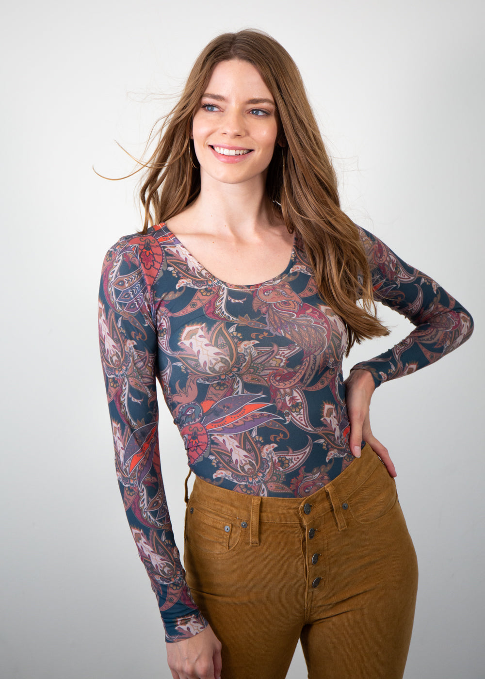 Nature Paisley Scoop Neck Top