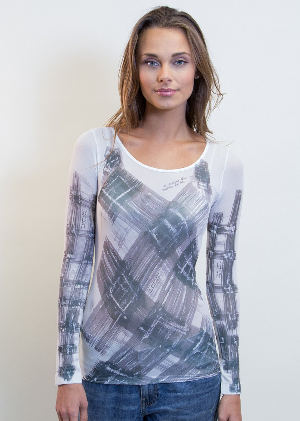 Abstract Plaid Crew Neck Top